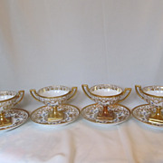 Set of 4 Limoges Sherbets with Underplates c. late 1800's