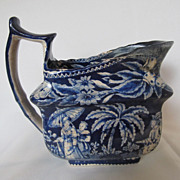 Antique English Dark Blue Transferware Creamer c. 1820's