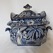 Antique English Dark Blue Transferware Lidded Sugar Bowl c. 1820's