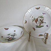 "Herend Rothschild 6.5"" Cereal Bowl & 7.25"" Bread Plate"
