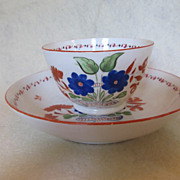 C. 1814-1830 English Porcelain New Hall Tea Bowl and Saucer