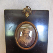 A Miniature Picture of Mary Queen of Scots in Lovely Black Frame with Acorn Accent