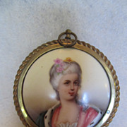 Marvelous Miniature Portrait on Porcelain Framed in Brass