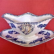 French Longwy Blue and White Transfer Ware Sauce Boat Saucier c.1840-60