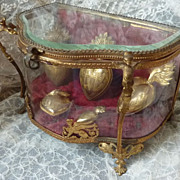 Rare faded grandeur 19th C. boudoir display  box  casket  Empire motifs