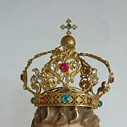 Darling antique French decorative ormolu jeweled crown paste stones