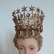 Adorable antique French diminutive ormolu jeweled display crown  stars