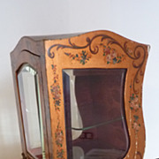 Large 19th C. French hand painted sedan chair display vitrine miniature