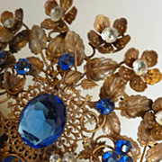 Rare full size opulent 19th C. French jeweled crown / tiara faux sapphire