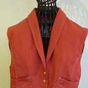 Superb vintage French HERMES Paris red waistcoat equestrian theme
