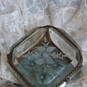 19th C. French ormolu etched bevelled glass trinket box casket floral motifs