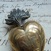 SOLD Delicious French vermeil flaming sacred heart ex-voto reliquary box