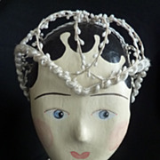 Delicious French wax bride's  headdress Juliette cap 1920 's