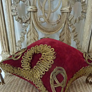 Opulent 19th French  globe de mariee cushion gold metallic passementerie