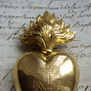 SALE PENDING Imposing antique French ormolu flaming sacred heart ex voto reliquary box