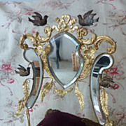 Opulent 19th C. French  wedding cushion display stand bird bow motifs
