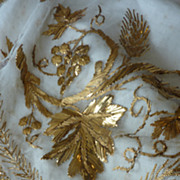 Antique French religious embroidered tulle gold thread antependium alter textile