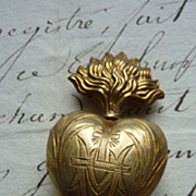 SOLD Diminutive 19th C. French  flaming sacred heart  ex voto reliquary
