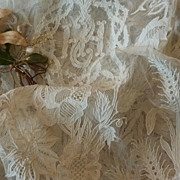 Splendid 19th C. French hand embellished lace religious vestment surplice