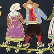 Charming rustic antique French hand embroidered tablecloth folklorique country scenes