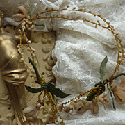 Delicious faded grandeur bride's wax wedding crown tiara orange blossom