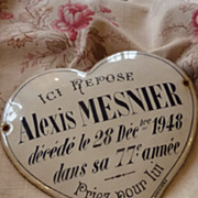 Decorative French  heart shaped enamel remembrance plaque 1948