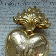 SALE PENDING Delicious French  ormolu flaming sacred heart ex-voto, reliquary, religious