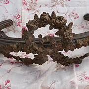 SALE PENDING Antique French bed corona / ciel de lit / canopy rose swags ribbon bow