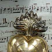 Delicious 19th C.French silver vermeil flaming sacred heart ex voto reliquary