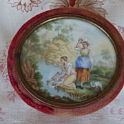 Faded grandeur antique French boudoir trinket box painted medallion