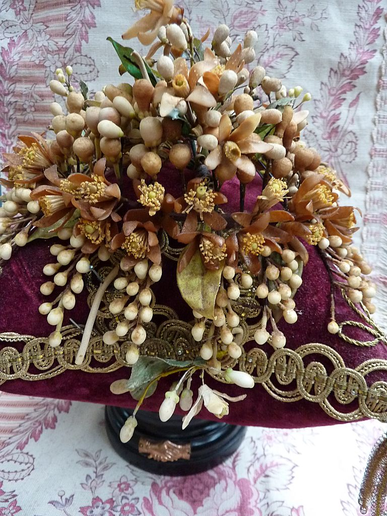 Delicious antique French  wedding display cushion wax crown hands