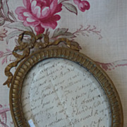 Delicious unusual  antique French hand mirror photo frame ribbon bows