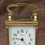 French Alarm Travel Clock Beveled Glass Bronze F Stenn Paris 1900