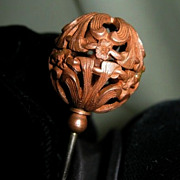 SALE Long Victorian Copper Filagree Hatpin