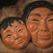 SALE Figural Eskimo Family Portrait * Large Chalkware