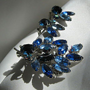 Faux Sapphire Rhinestone Brooch and Earrings