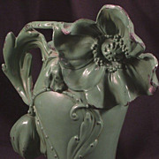 SALE Art Nouveau Painted Spelter Vase