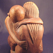 SALE Sculpted  Lover's Embrace * Wood Figurine