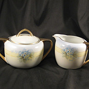 Antique Porcelain Creamer & Sugar Bowl