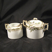 Nippon Porcelain Sugar Bowl and Creamer
