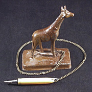 Spelter Giraffe Figural Pencil Holder