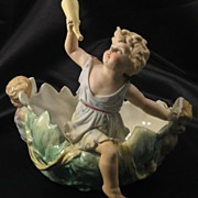 SALE Antique Porcelain Figurine Center Piece Bowl