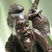 SALE Sculpted Oriental Fisherman * Carved Resin