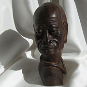 Sculpted Wood African Male  Bust