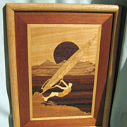 SALE Marquetry Wood Inlay Windsurfer