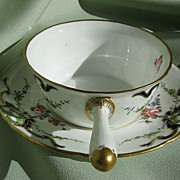 "SALE 1903 ""Royal Crown Derby"" Porcelain Porringer & Saucer - Ca."