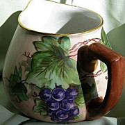 "SALE French Limoge Porcelain ""Guerin"" Cider Pitcher Hand Painted"