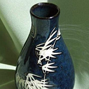 SALE Oriental Porcelain  Vase with Incised Longevity Bamboo