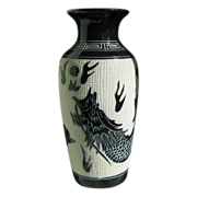 "SALE ""Sgraffito"" Porcelain Vase with Dragon Motif"