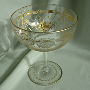 SALE French Baccarat Cut Crystal Pedestal Bowl
